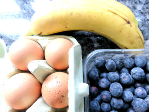 Banana, egg and blueberry muffins